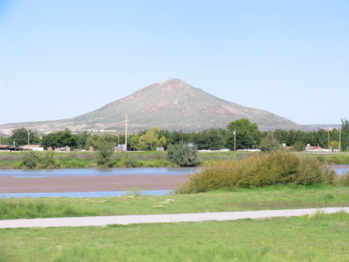 Picacho Peak, seen from the Banks of the Rio Grande, in Las Cruces, New Mexico